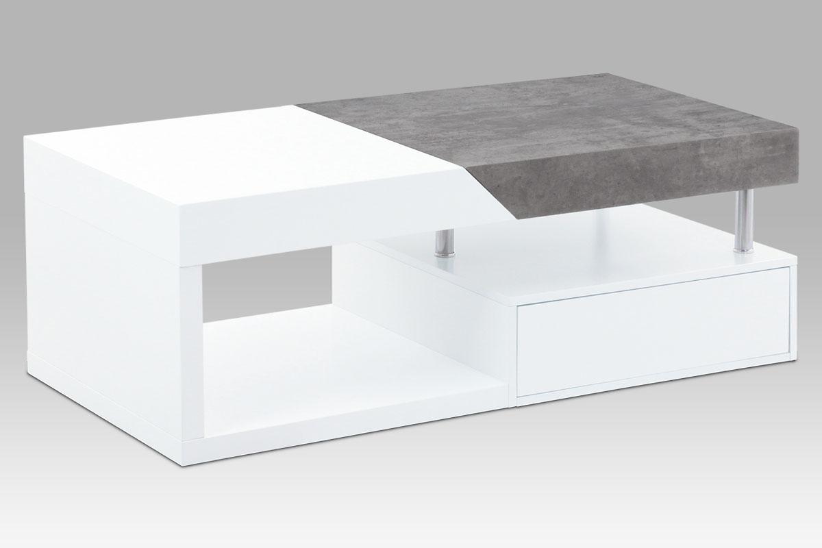 Konferenční stolek Tibor, 120 cm, bílá/beton