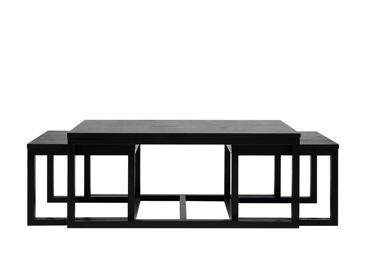 Konferenční stolky Canvas, sada 3 ks, černá
