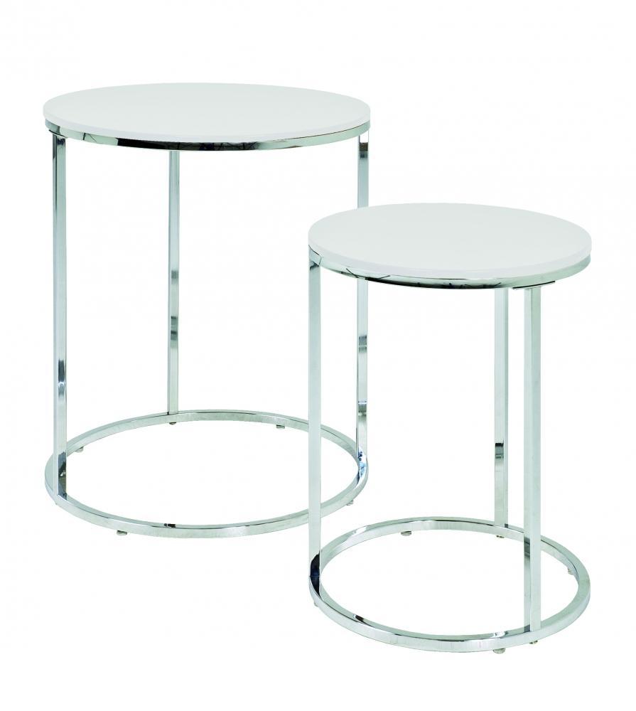 Konferenční stolky Enzo, sada 2 kusů, 40 / 50  cm, bílá / chrom
