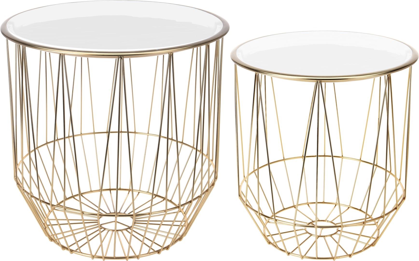 Konferenční stolky Glamor, sada 2 ks, zlatá/bílá