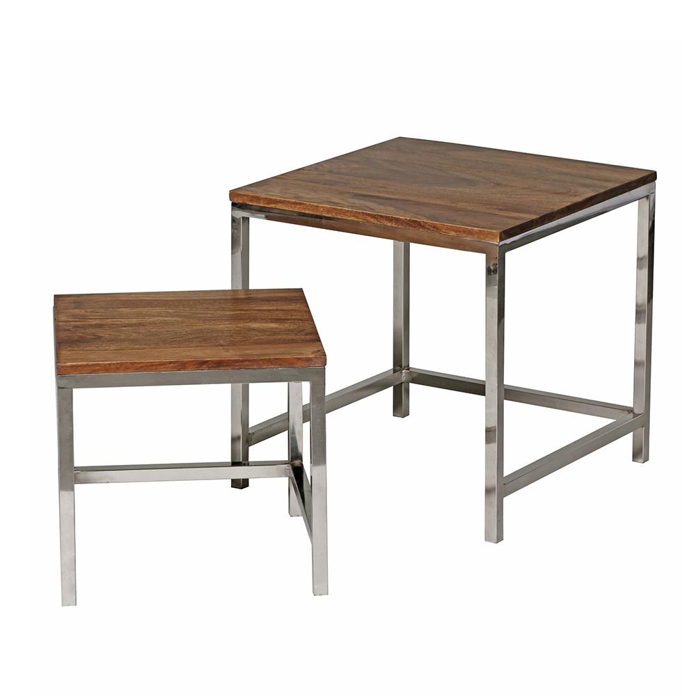 Konferenční stolky Guna, 45 cm, sada 2 ks, masiv Sheesham