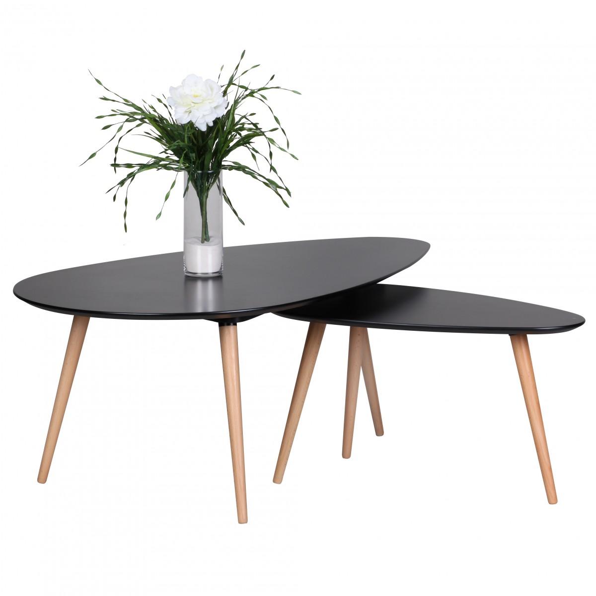 Konferenční stolky Scanio, sada 2 ks, černá/dub