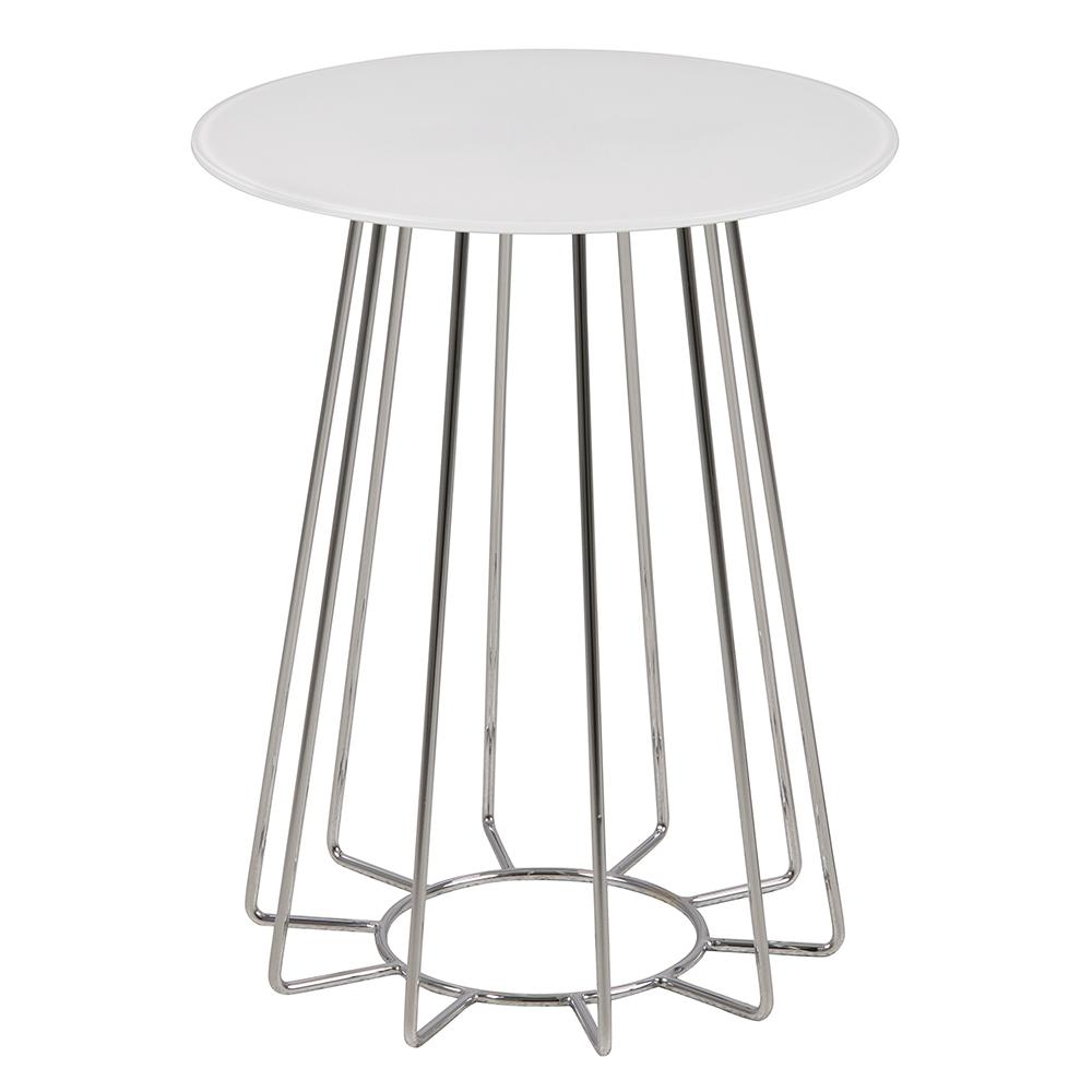 Konferenčný / nočný stolík Goldy, 50 cm, biela, biela