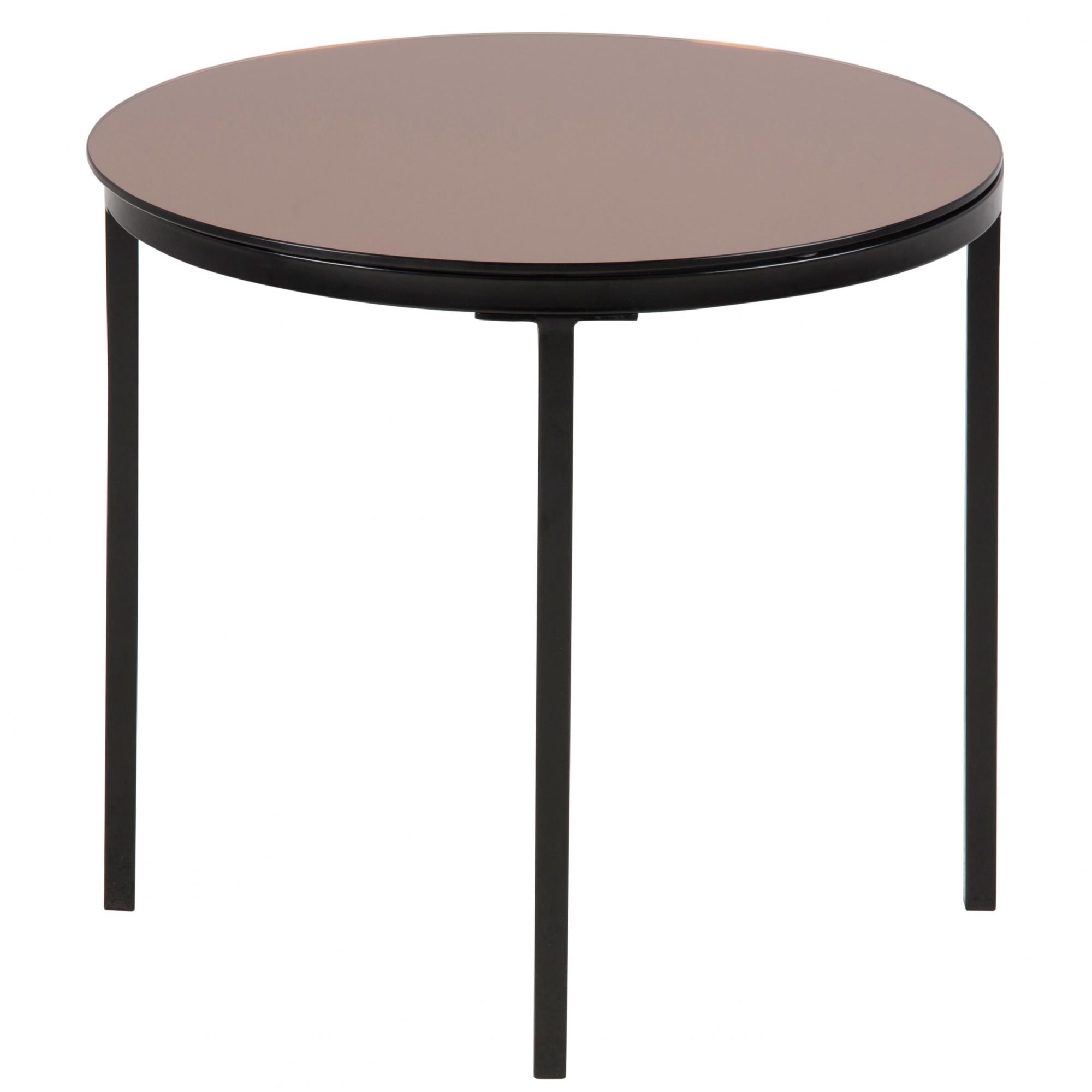 Konferenčný / nočný stolík sklenený Gira, 50 cm, bronzová