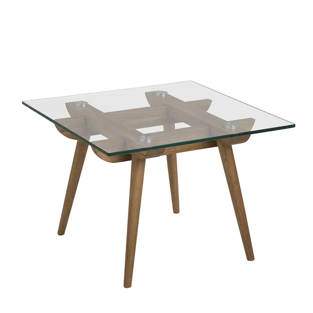 Konferenčný / nočný stolík sklenený Xena, 60 cm, číra / dub