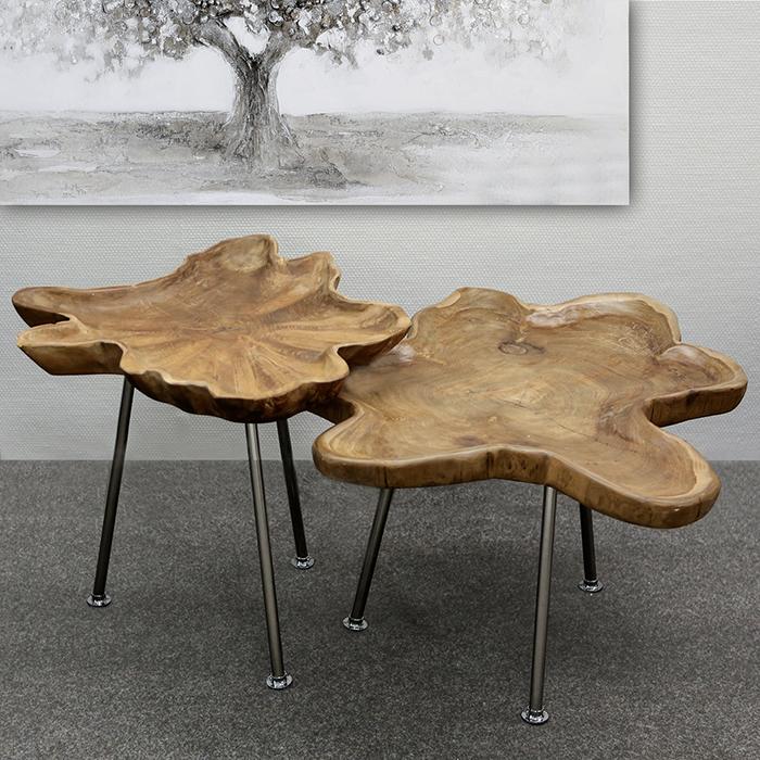 Konferenčný / odkladací stolík s teakovou doskou Baum, 55 cm, teak