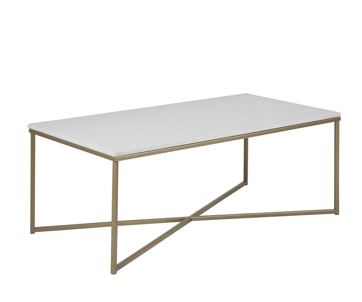 Konferenčný stolík Alma s mramorovou doskou, 120 cm, biela /strieborná