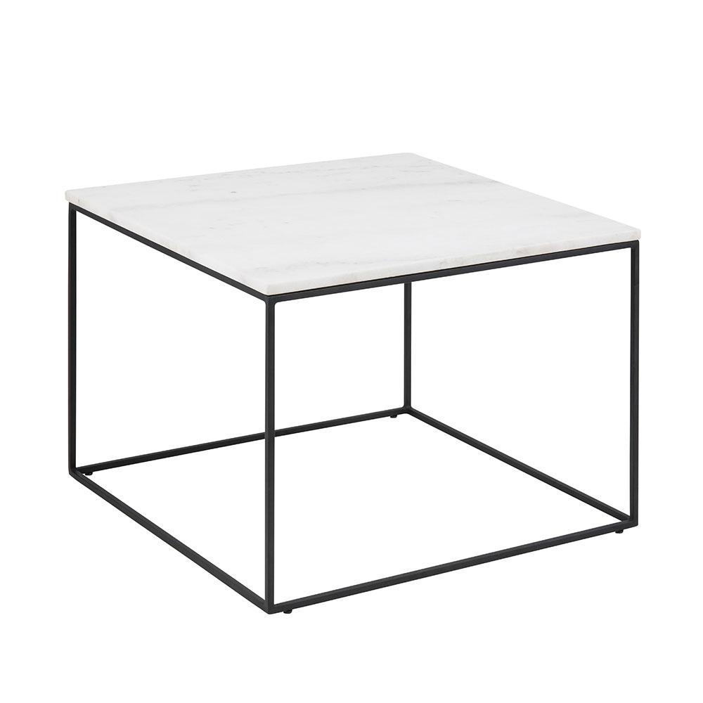 Konferenčný stolík Boston, 60 cm, mramor, biela / čierna