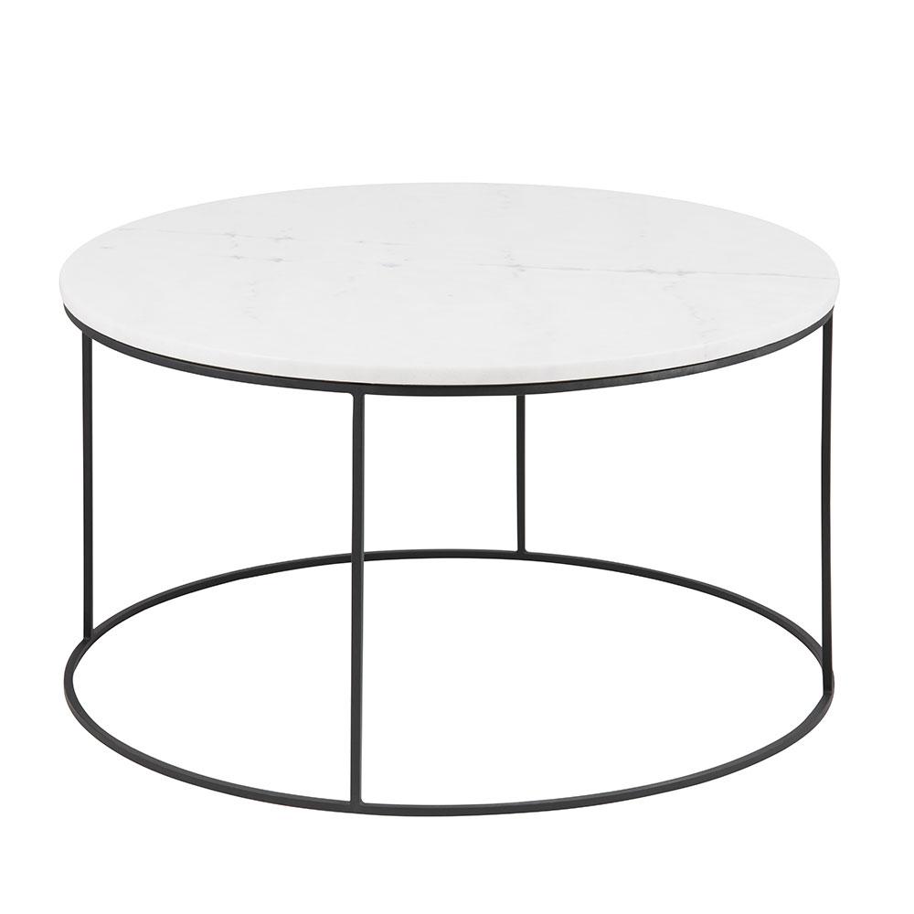 Konferenčný stolík Boston, 80 cm, mramor, biela / čierna