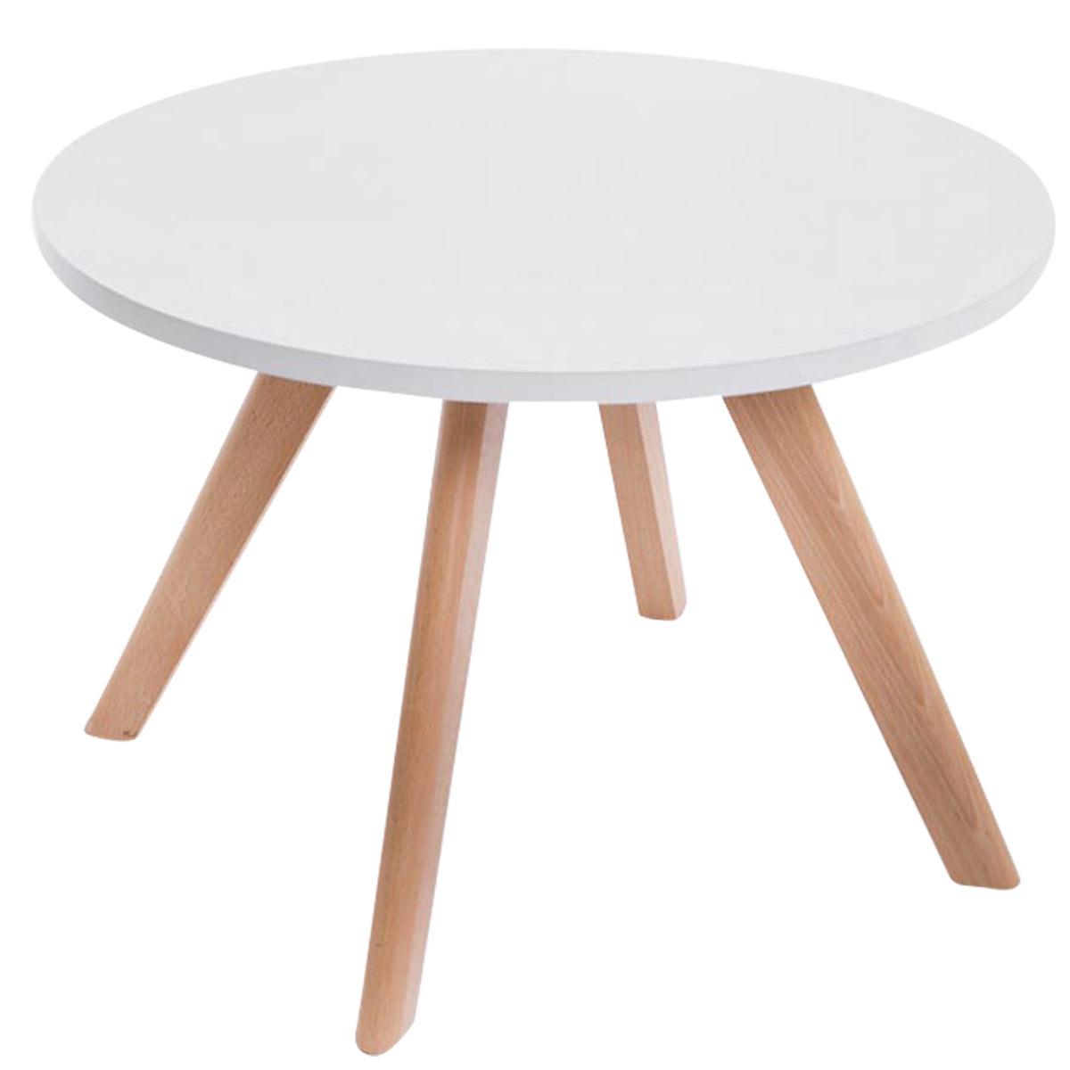 Konferenčný stolík Erik, 60 cm, nohy prírodné, drevo / biela