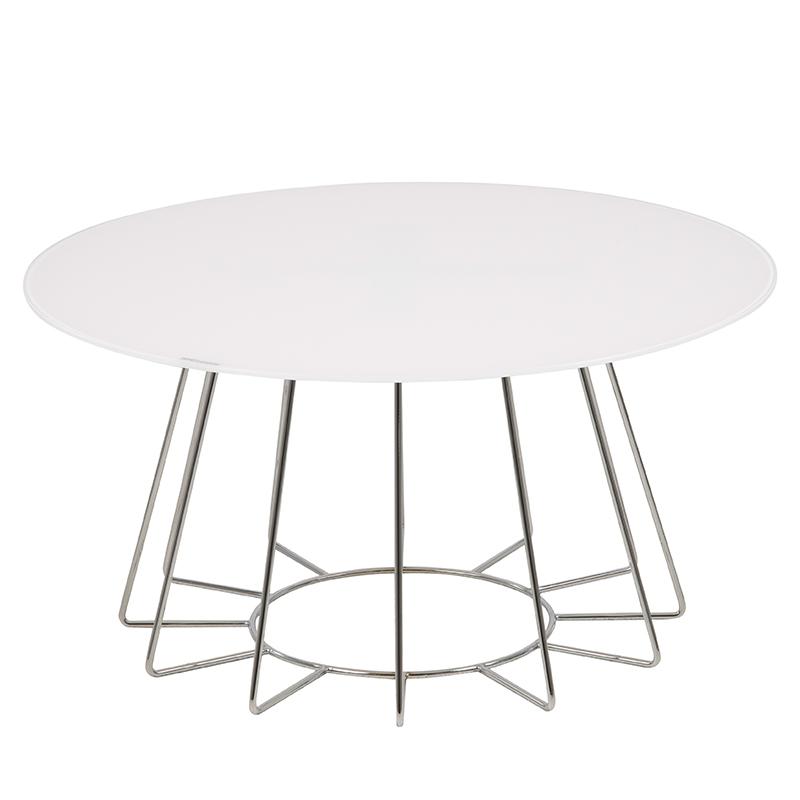 Konferenčný stolík Goldy, 80 cm, biela, biela