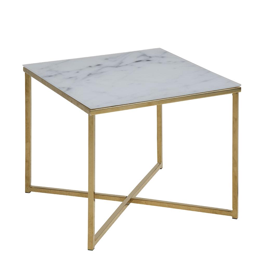 Konferenčný stolík hranatý Alma, 50 cm, zlatá, biela / zlatá
