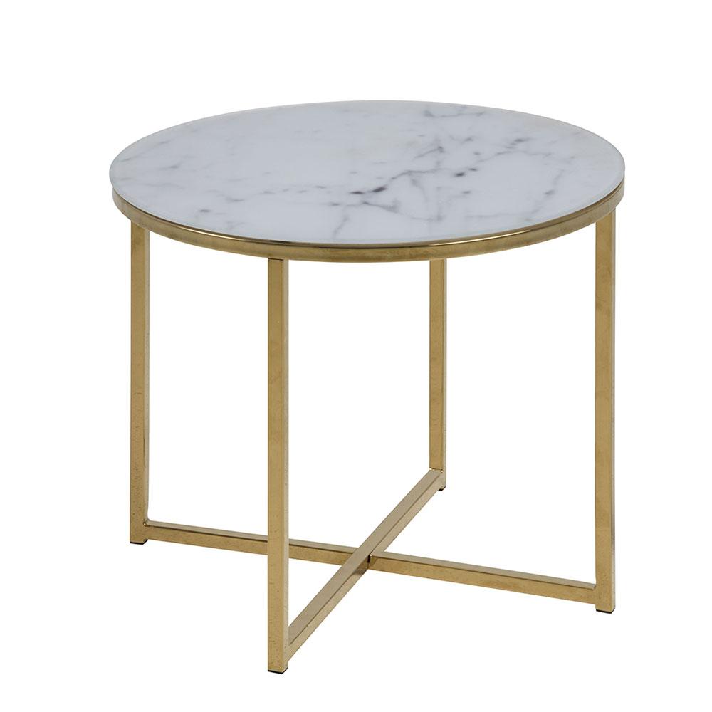 Konferenčný stolík okrúhly Alma, 50 cm, zlatá, biela / zlatá