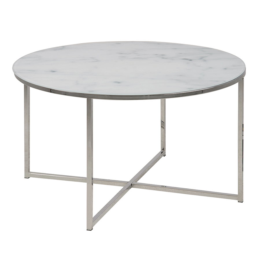 Konferenčný stolík okrúhly Alma, 80 cm, chróm, biela / chróm