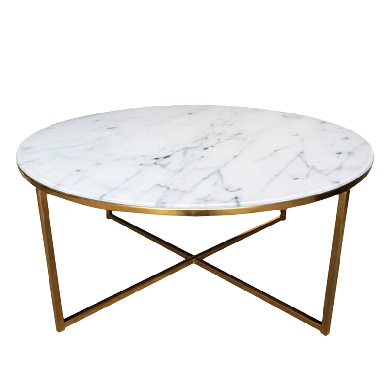 Konferenčný stolík okrúhly Alma, 80 cm, zlatá, biela / zlatá