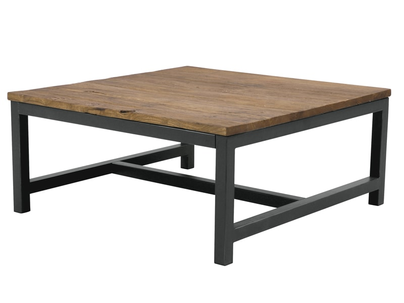 Konferenčný stolík s drevenou doskou Harvest, 90 cm, jilm