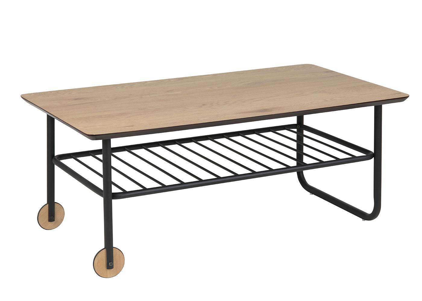 Konferenčný stolík s kolieskami Whale, 110 cm, dub / čierna