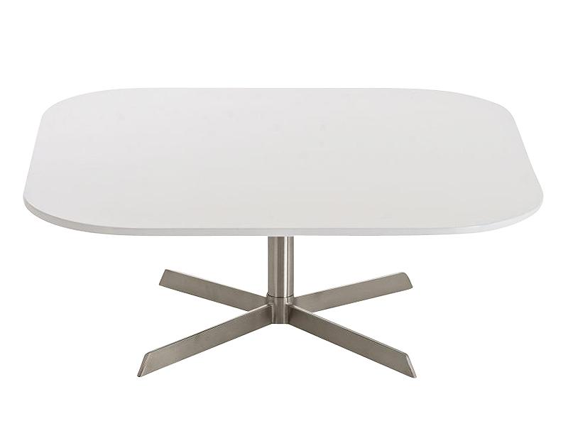 Konferenčný stolík s nerezovou podnožou Arta, 90 cm biela, biela