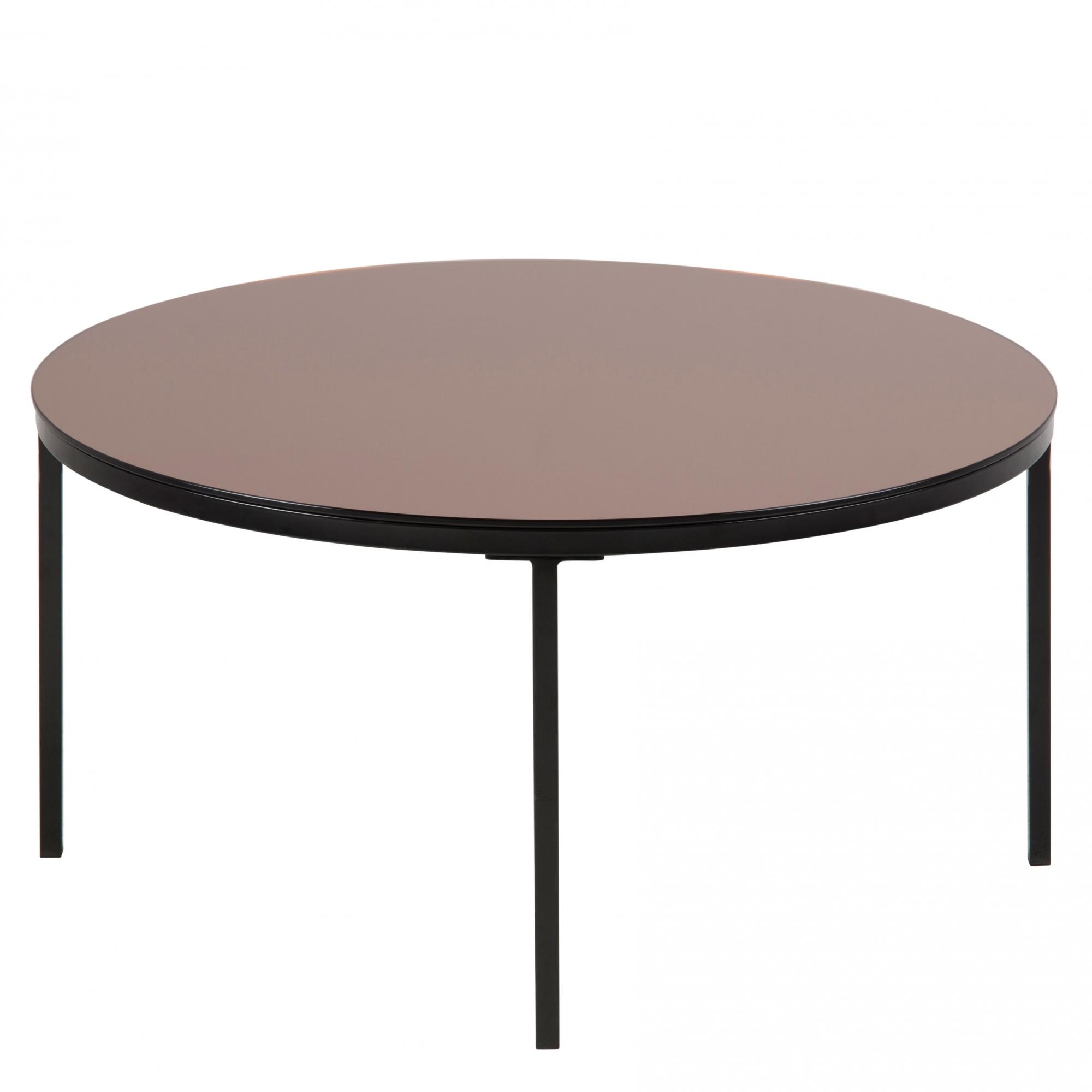 Konferenčný stolík sklenený Gira, 80 cm, bronzová