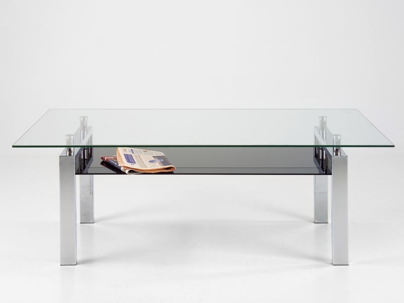 Konferenčný stolík sklenený Orion, 120 cm, číra / čierna