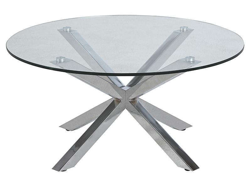 Konferenčný stolík sklenený Skyline, 82 cm, číra / chróm