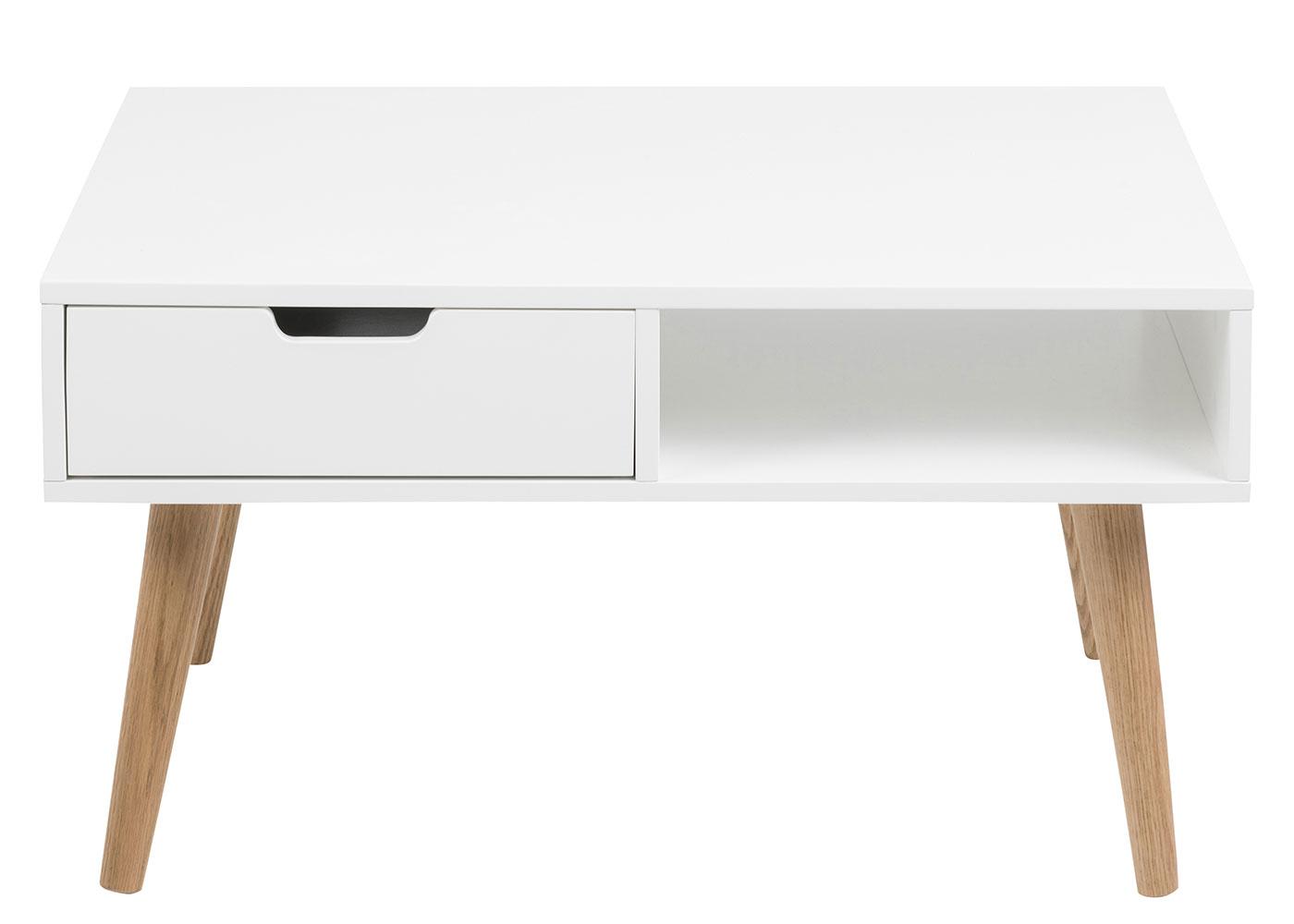 Konferenčný stolík so zásuvkou Marika, 80 cm, biela / dub