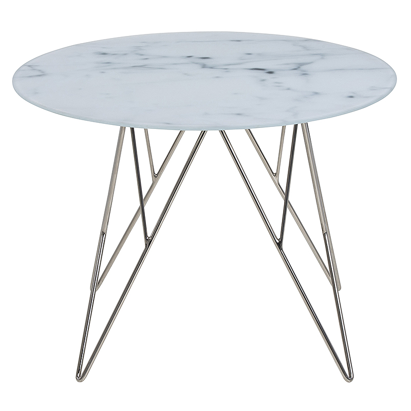 Konferenčný stolík Stark, 55 cm, sklo, mramor / nerez