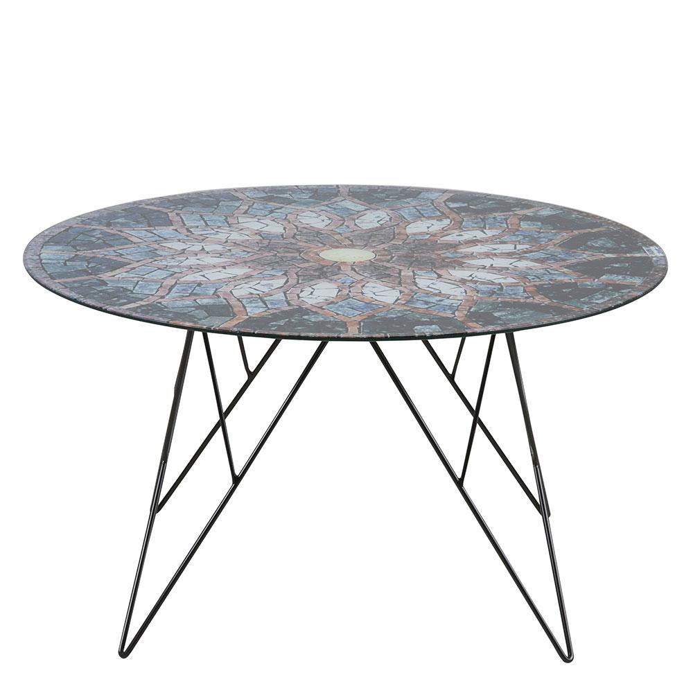 Konferenčný stolík Stark, 80 cm, sklo s potlačou, viac farieb