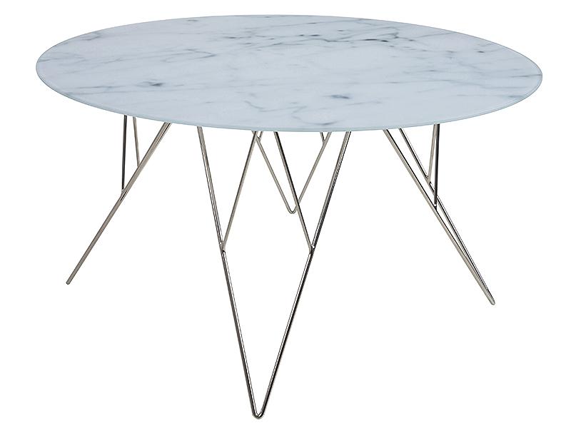 Konferenčný stolík Stark, 80 cm, sklo, mramor / nerez