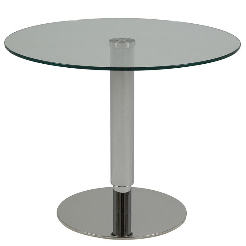 Konferenčný stolík výškovo nastaviteľný Sorty, 80 cm, číra / nerez