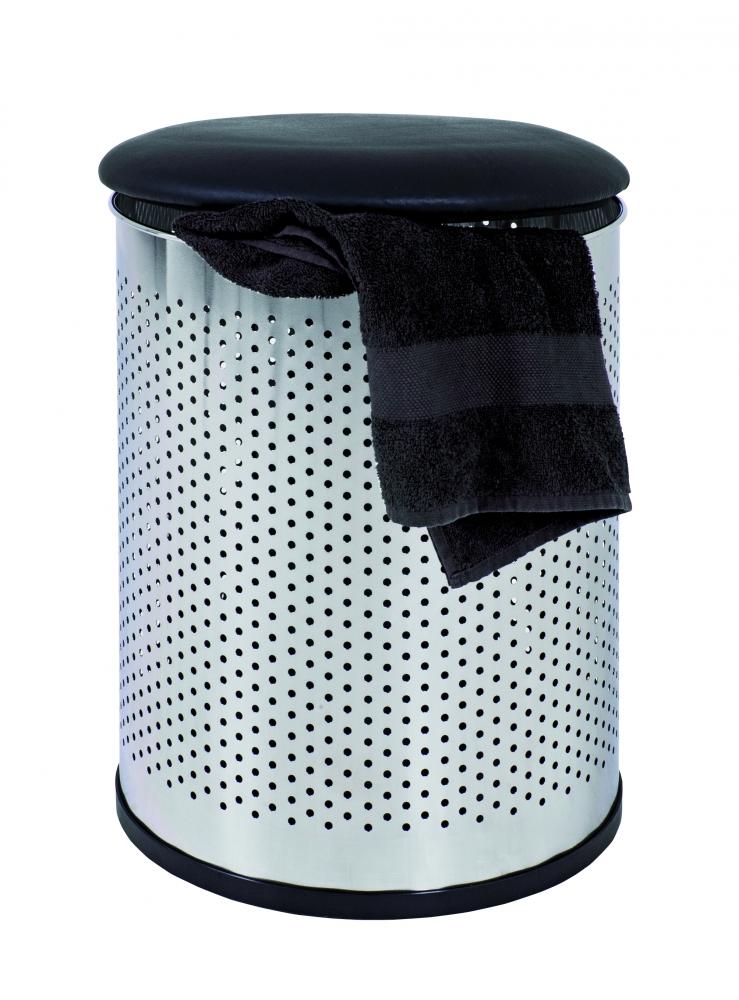 Koš na prádlo Colt, 48 cm, černá / chrom