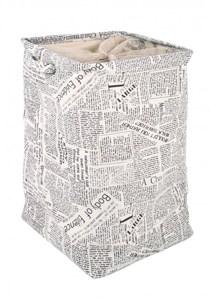 Koš na prádlo Landry, 56 cm, bílá / černá
