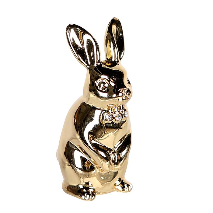 Kovová dekorace zajíc Glamour, 7 cm, zlatá