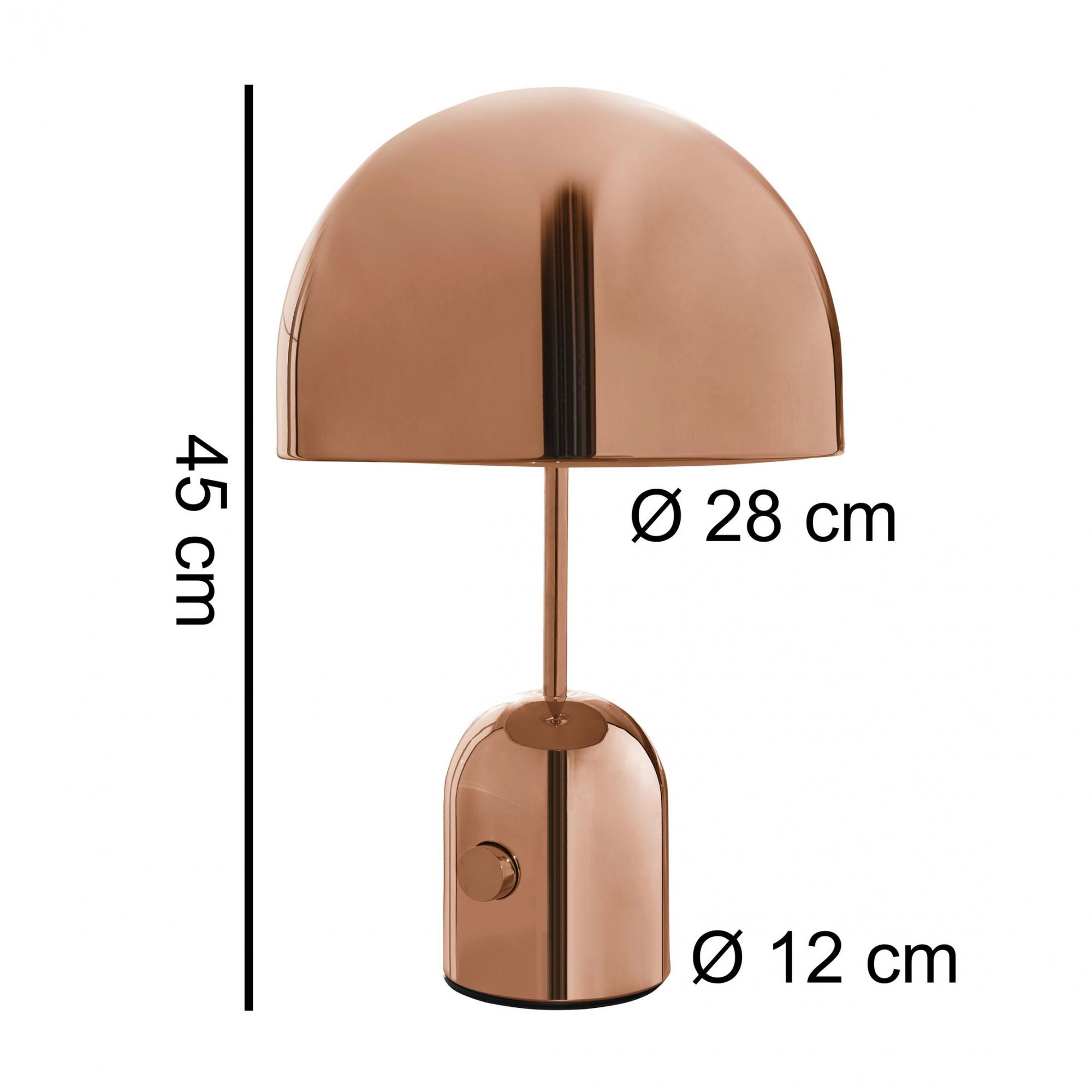 Kovová stolní lampa Ohri, 45 cm, měděná