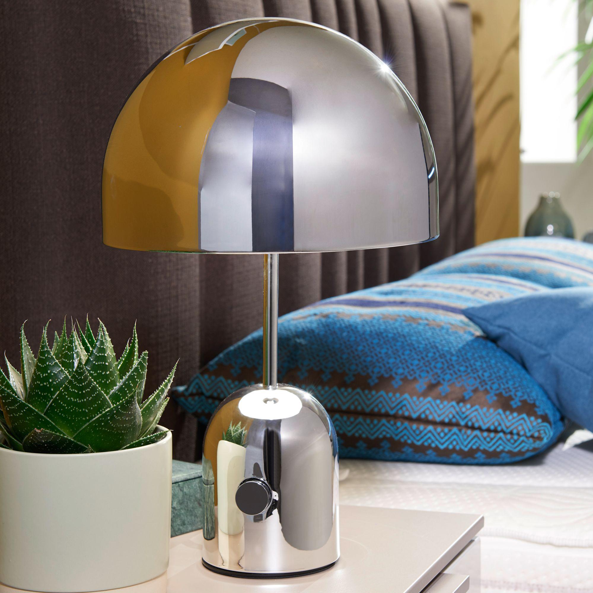 Kovová stolní lampa Ohri, 45 cm, stříbrná
