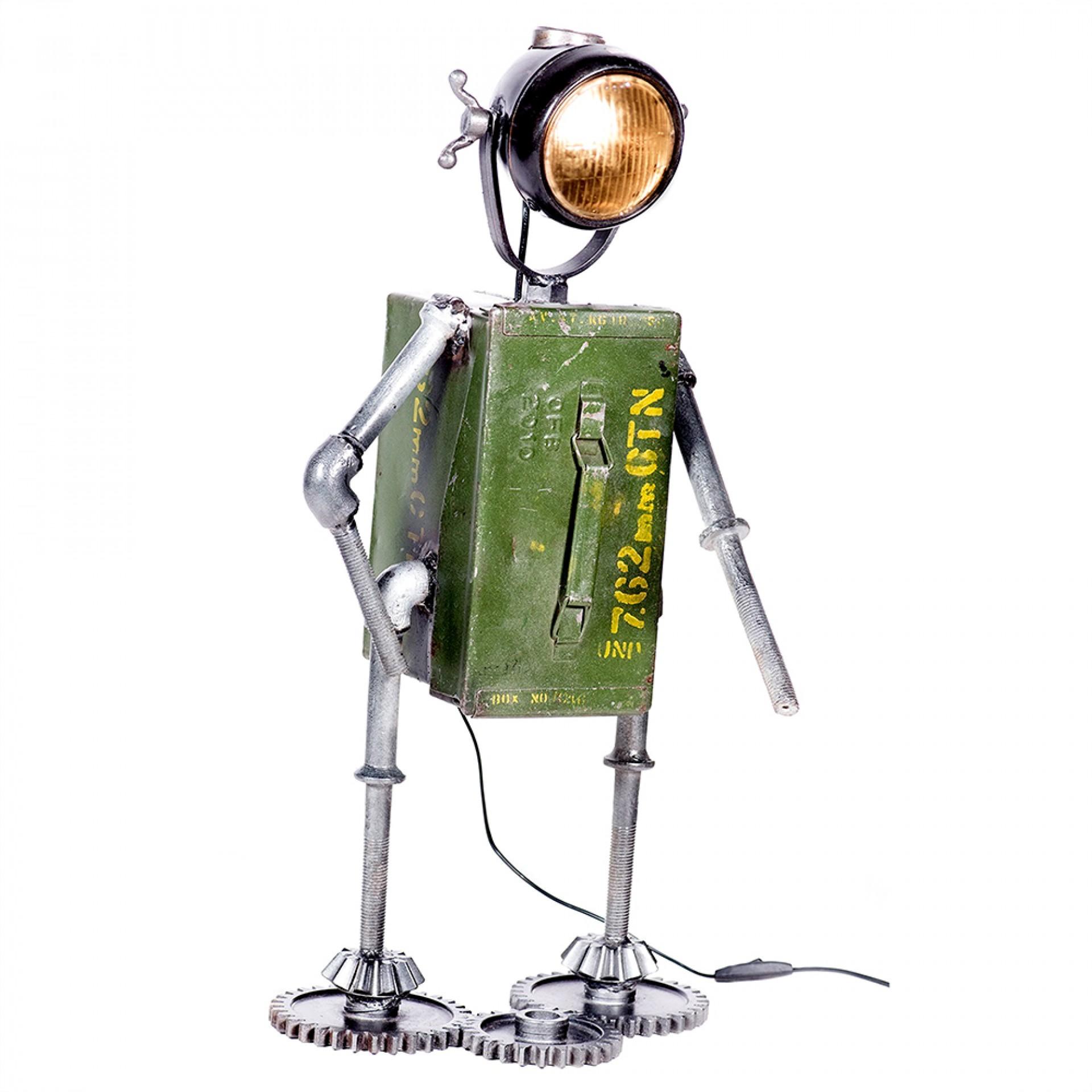 Kovová stolní lampa Robot, 72 cm, zelená