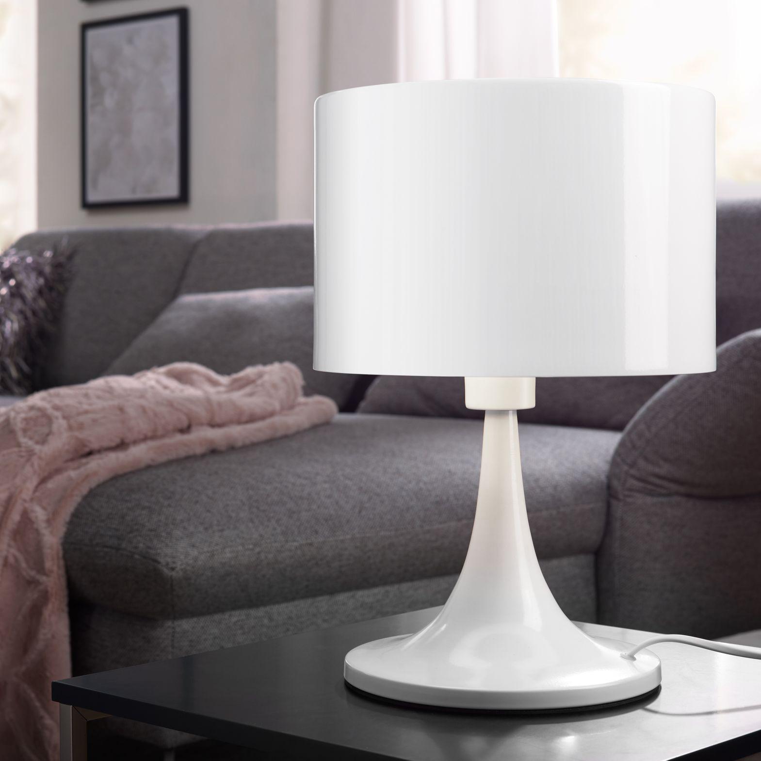 Kovová stolní lampa Tila, 37 cm, bílá
