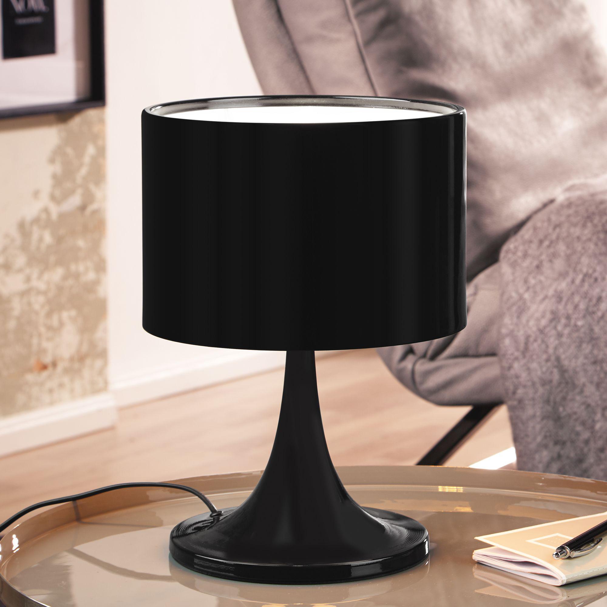 Kovová stolní lampa Tila, 37 cm, černá