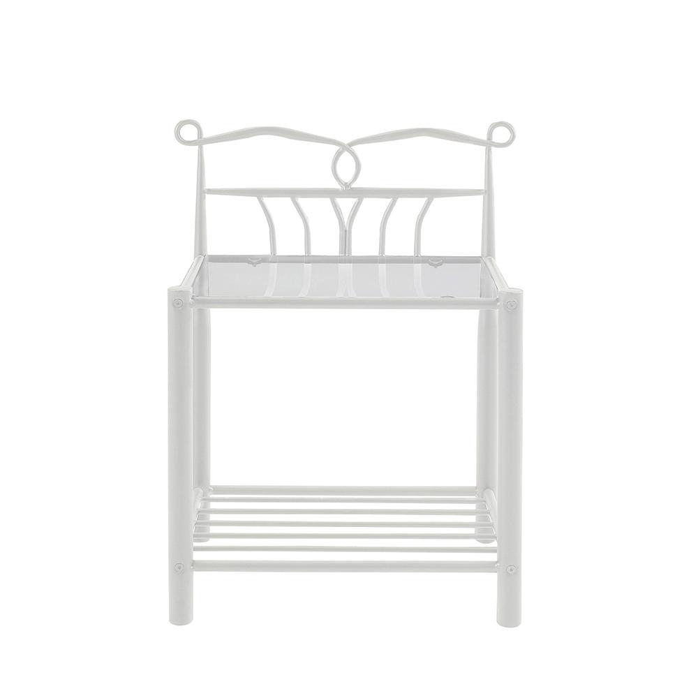Kovový noční stolek Linia, 66 cm, bílá