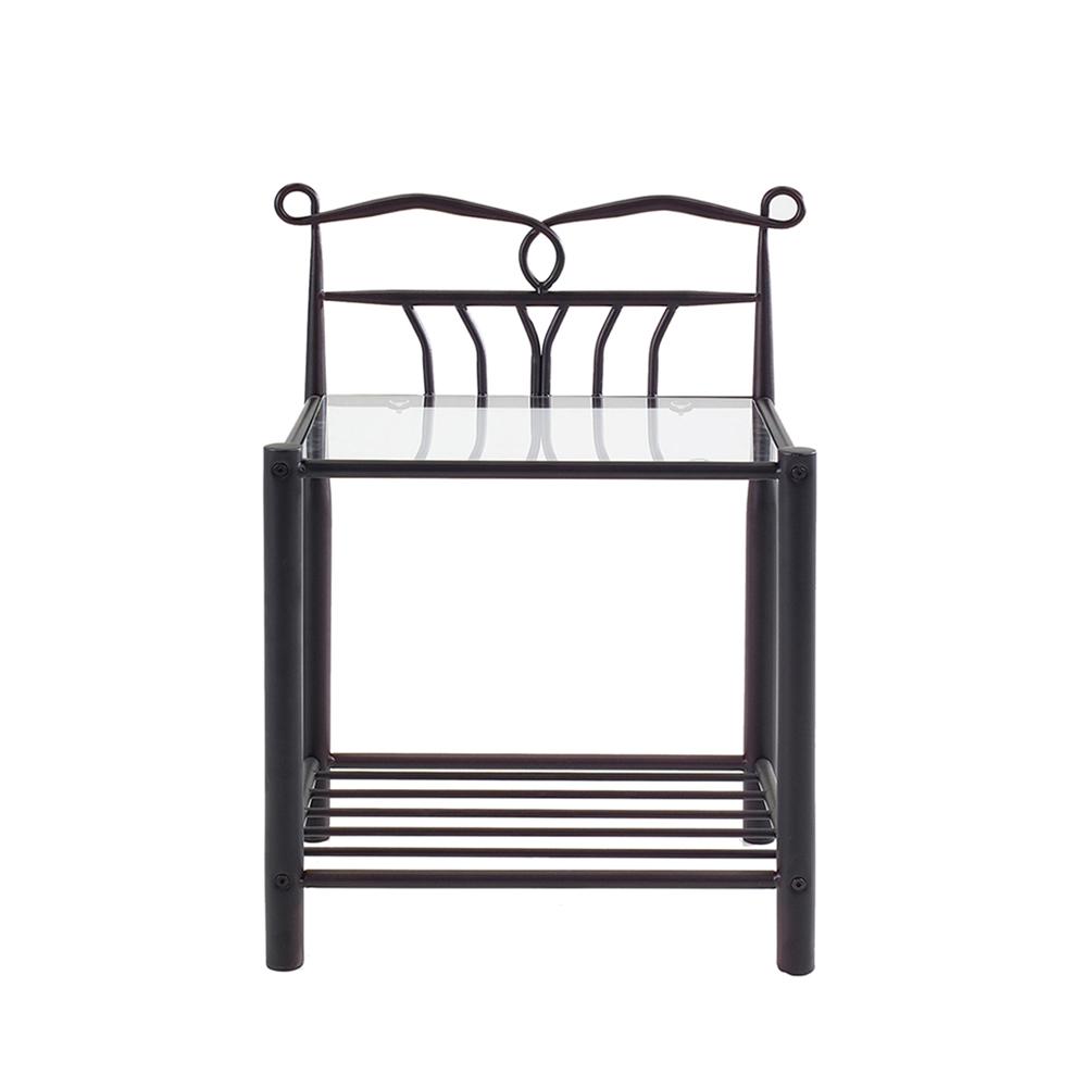 Kovový noční stolek Linia, 66 cm, černá