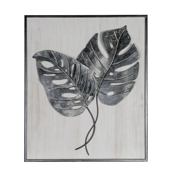 Kovový obraz Big Leaves, 87 cm