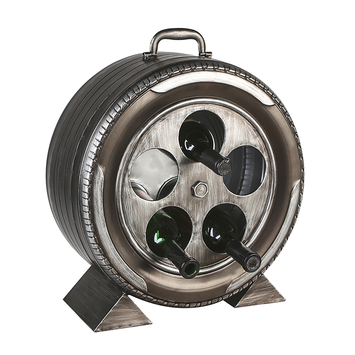 Kovový stojan na víno Wheel, 73 cm