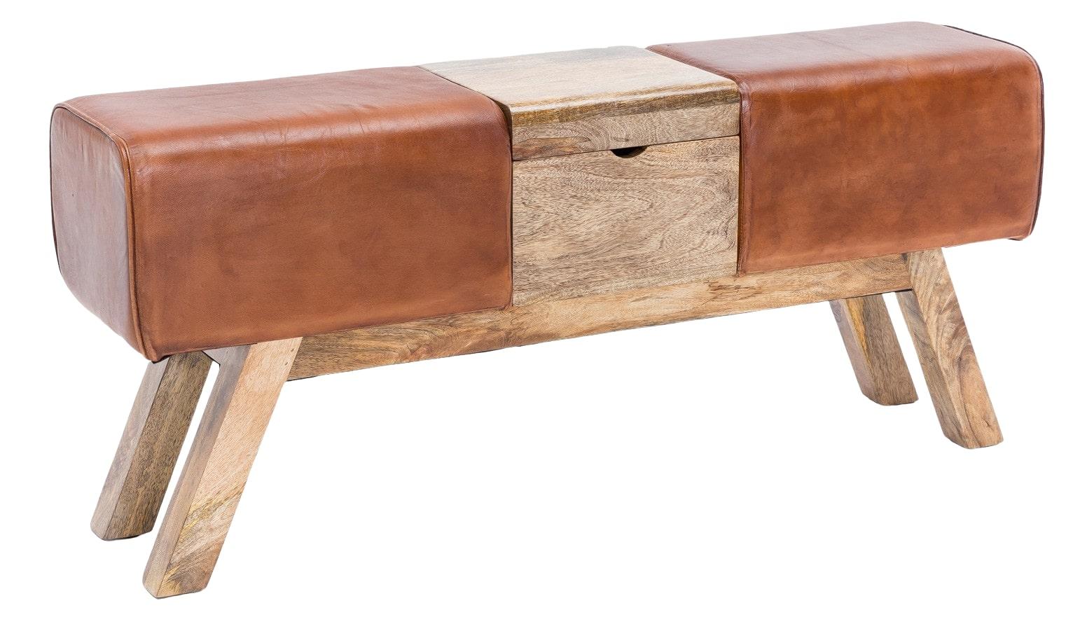 Kožená lavice s dřevěným boxem, 120 cm, hnědá