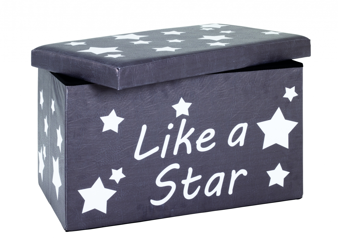 Krabice s úložným prostorem Stars, 40 cm, bílá/šedá