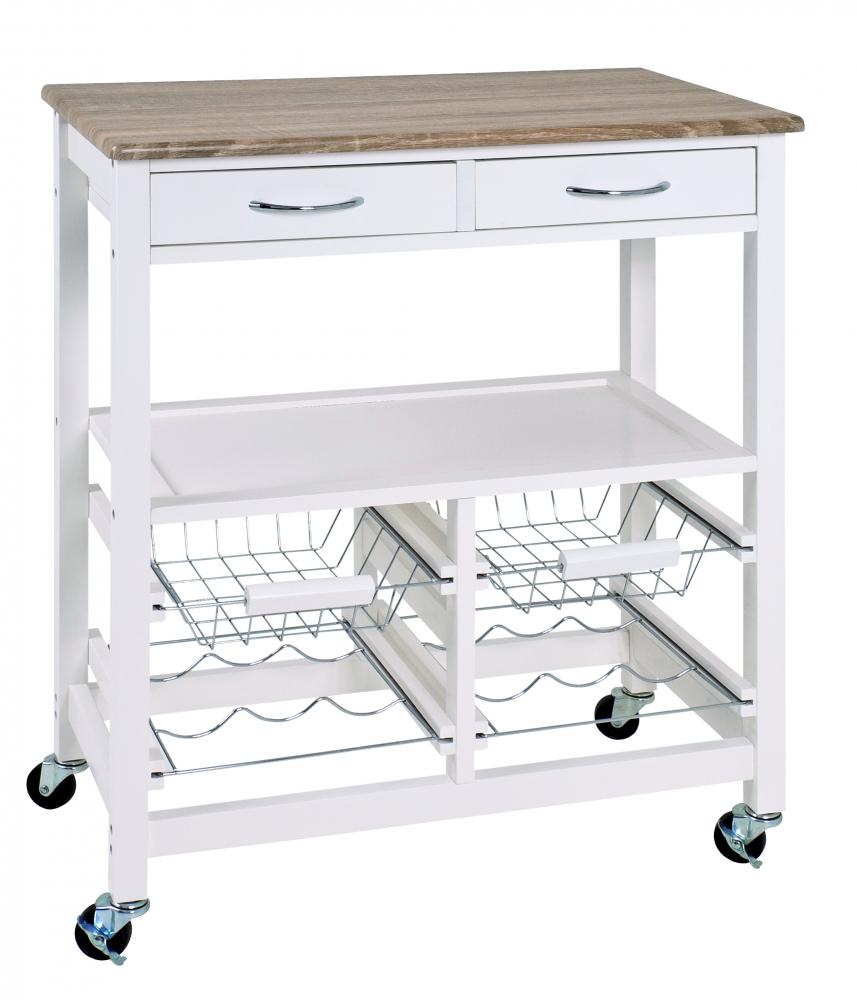 Kuchyňský vozík Deborah, 84 cm, dub / bílá