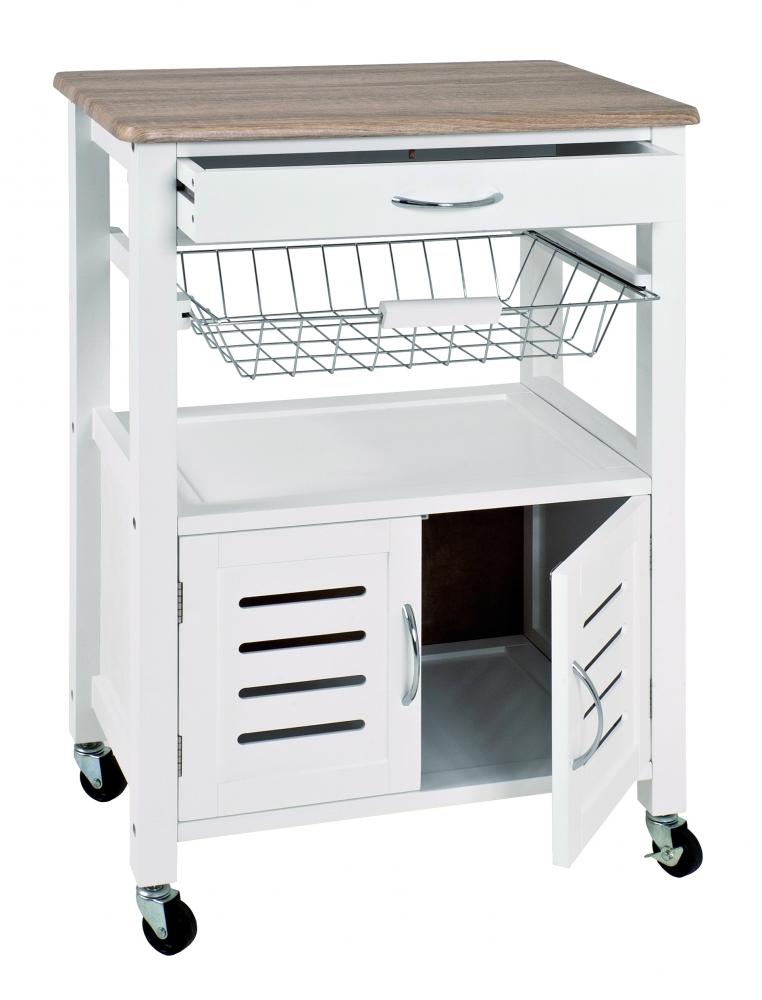 Kuchyňský vozík Ernesto, 84 cm, bílá / dub