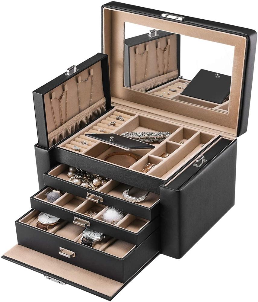 Kufřík na šperky Leman, 29,5 cm, černá