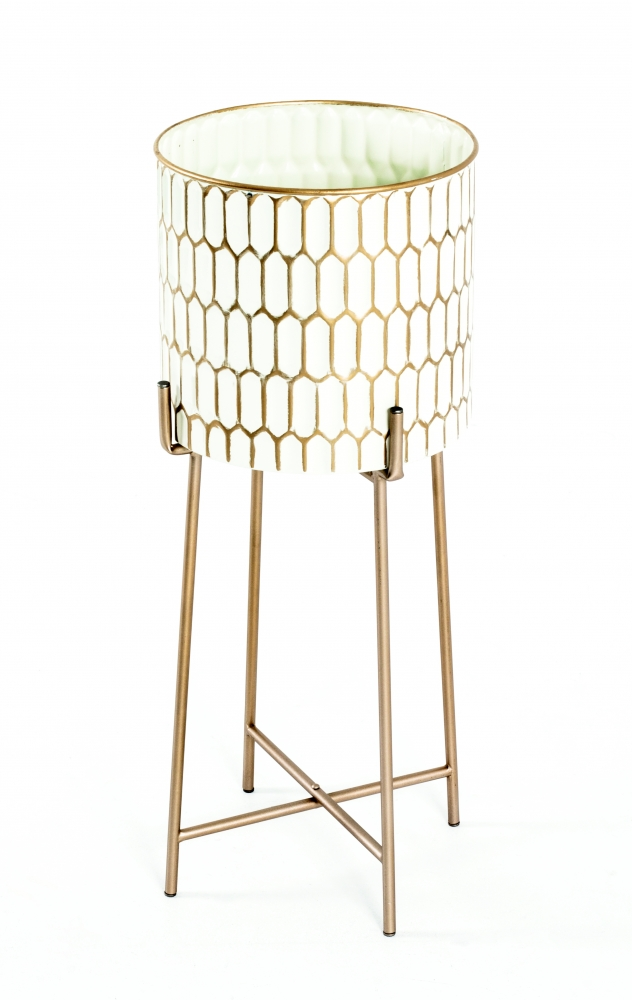 Květináč Beatris, 64 cm, zlatá / bílá