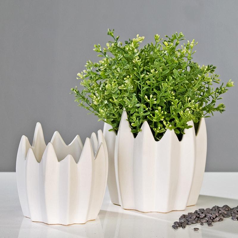 Květináč keramický Zack, 15 cm bílá