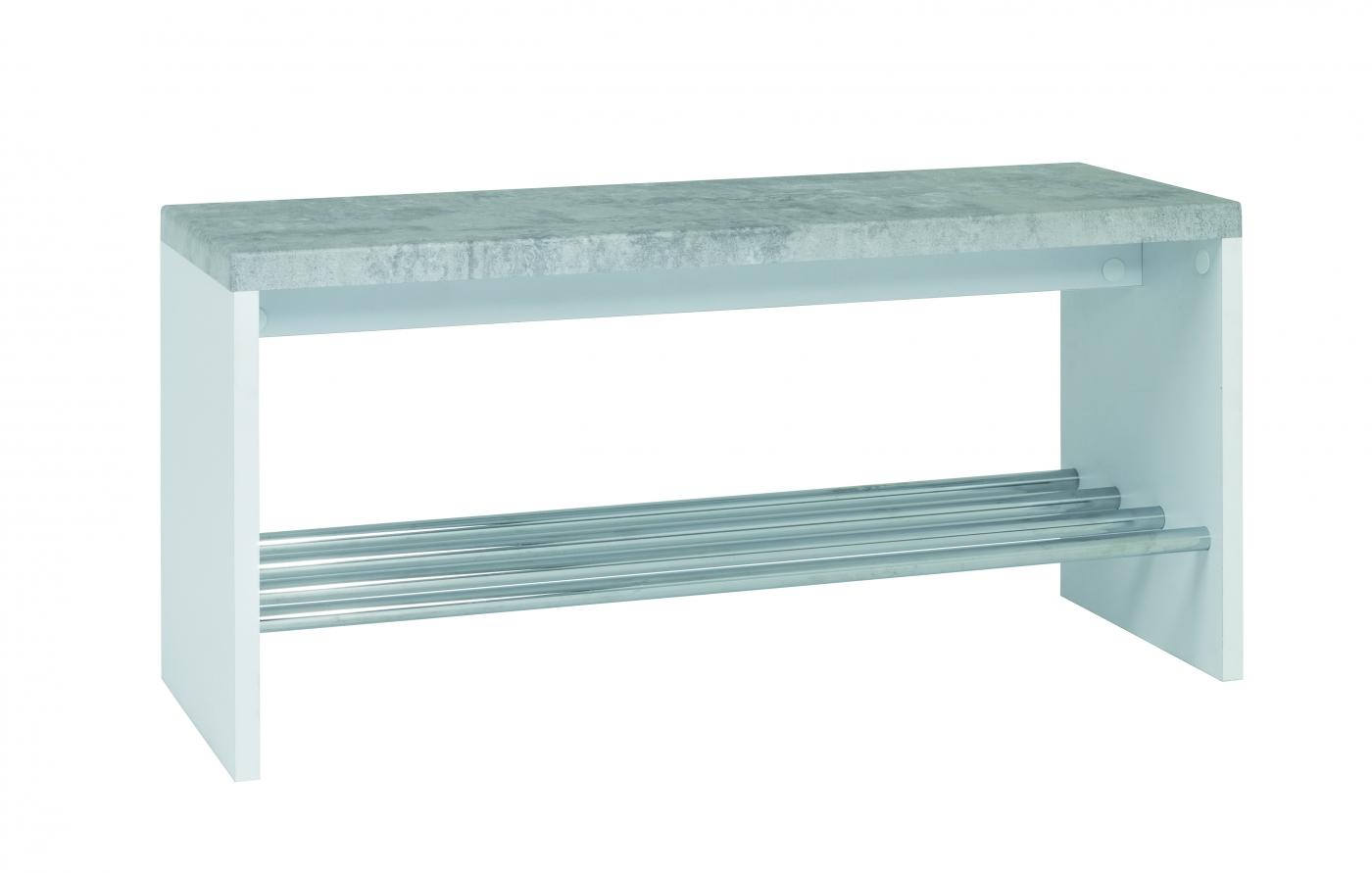 Lavice s botníkem Zona I., 81 cm, beton / bílá